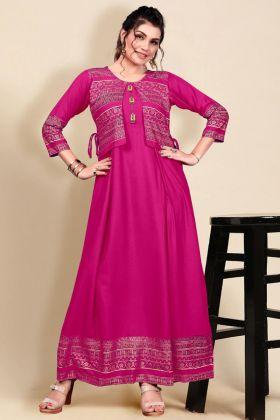 Launching Women New Arrival Pink Color Heavy Rayon Fancy Long Dress
