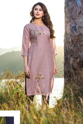 Lavender Color Cotton Linen Readymade Kurti With Bottom