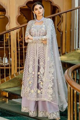 Lavender Color Georgette Pakistani Salwar Kameez With Embroidery Work