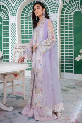 Lavender Color Net Pakistani Suit With Embroidery Work