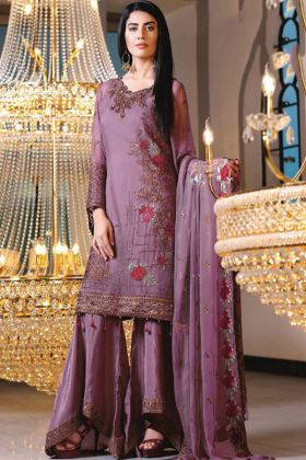 Lavender Georgette Embroidered Stright Suit