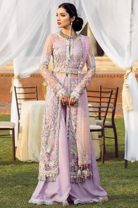 Lavender Georgette Net Pakistani Suit With Net Foil Print Dupatta