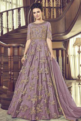 Lavender Net Anarkali Salwar Suit