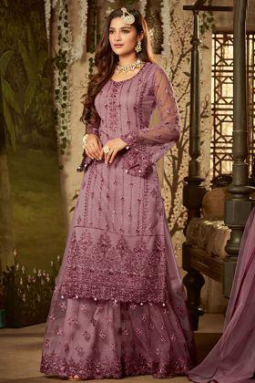 Lavender Net Wedding Sharara Suit