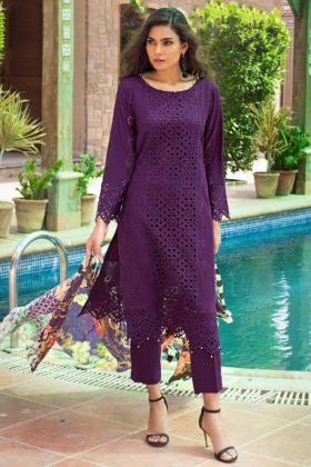 Lawn Purple Pakistani Salwar Kameez In Digital Print