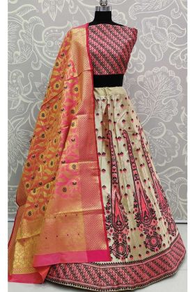 Lehenga Choli For Girls With Pink Banarasi Silk Dupatta
