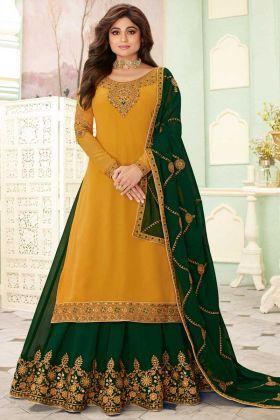 Lehenga Style Shamita Shetty Salwar Suit With Yellow Color