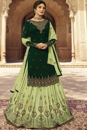 Lehenga Suit In Dark Green Georgette Fabric