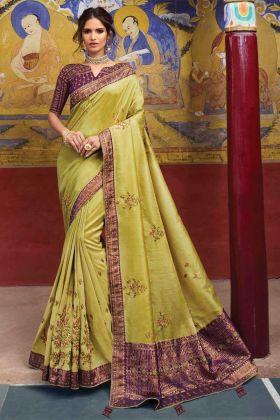 Lemon Yellow Color Raw Silk Saree Online