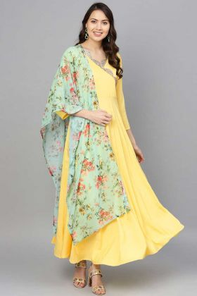Lemon Yellow Crepe Readymade Gown With Georgette Dupatta
