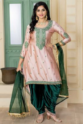 Levender Color Malai Satin Patiala Salwar Suit With Embroidery Work