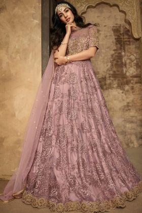 Levender Color Wedding Wear Anarkali Suit