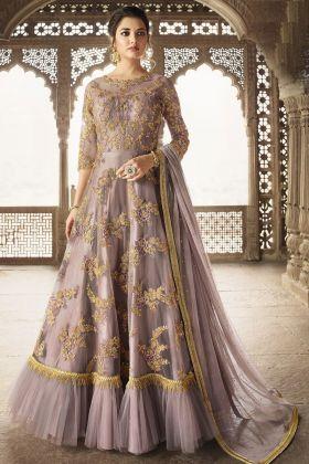 Levender Net Anarkali Salwar Suit