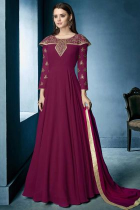 Lichi Georgette Gown Style Anarkali Dress Heavy Embroidery Work In Magenta Color