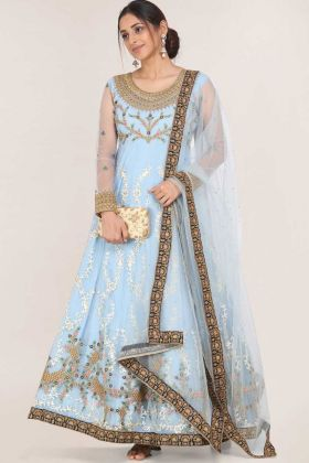 Light Blue Color Net Party Wear Readymade Gown