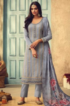 Light Blue Embroidered Pure Chinon Salwar Suit