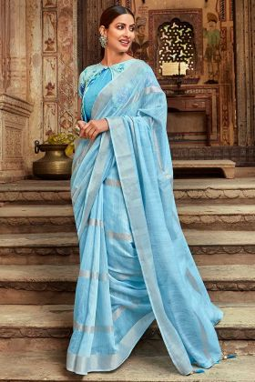 Light Blue Jute Cotton Simple Saree With Printed Jacket