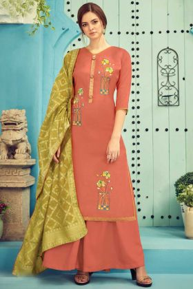 Light Brown Color Designer Party Wear Plazzo Suit Online