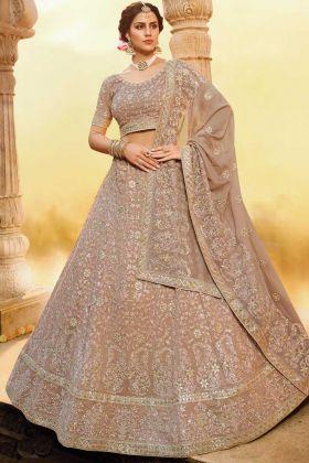 Light Brown Color Georgette Bridal Wear Lehenga Choli
