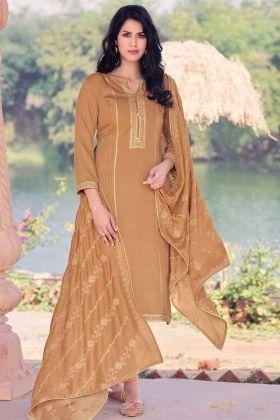 Light Brown Color Viscose Muslin Salwar Suit