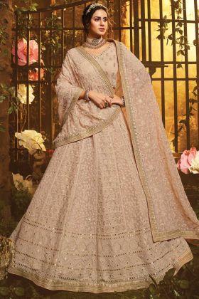 Light Brown Color Wedding Wear Georgette Lehenga Choli