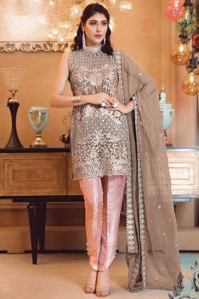 Light Brown Georgette Patch Work Pakistani Suit
