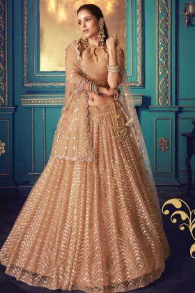 Light Brown Net Pretty Lehenga Choli For Special Wedding