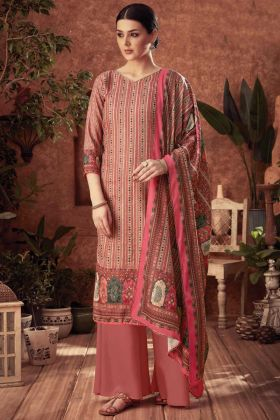 Light Brown Pure Wool Pashmina Party Wear Plazzo Suit