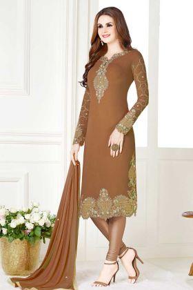 Light Brown Resham Embroidery Work Ladies Suit