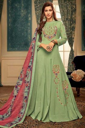 Light Green Anarkali Gown With Embroidery Work