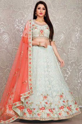 Light Green Bridal Wear Heavy Designer Georgette Lehenga Choli