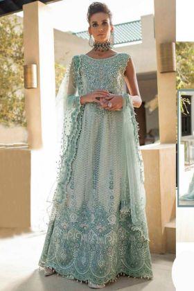 Light green butter Fly Net Pakistani salwar suit with Heavy Embroidry Dupatta