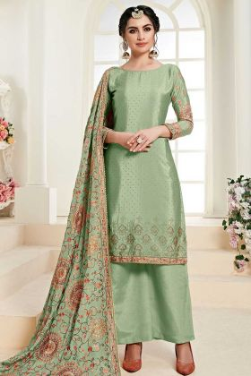 Light Green Chinon Palazzo Salwar Suit For Girls