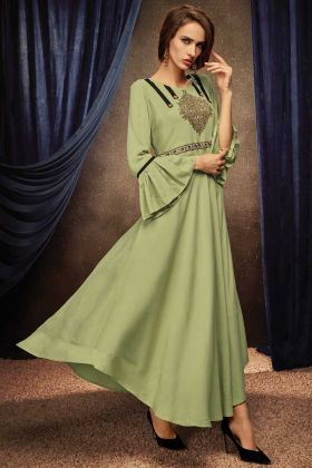 Light Green Color Readymade Gown With Rayon Fabric