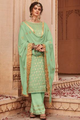 Light Green Jacquard Silk Palazzo Suits Party Wear