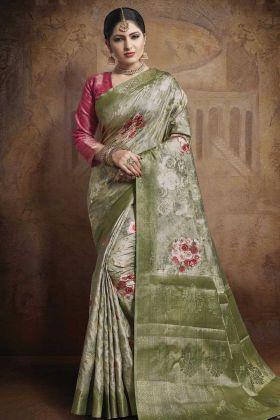 Light Green Jacquard Silk Weaving Saree