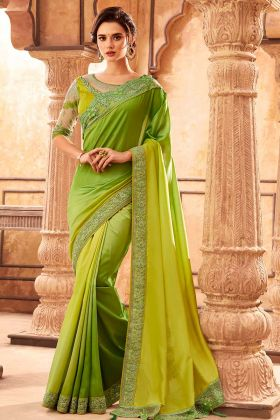 Light Green Malabar Silk Latest Saree With Un Stitched Blouse