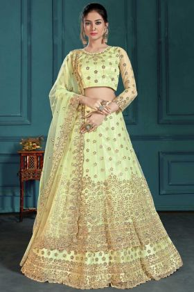 Light Green Net Fabric Heavy Wedding Wear Lehenga Choli Design