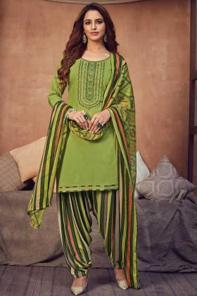 Light Green Pure Viscose Rayon Fancy Panjabi Patiala Dress Collection