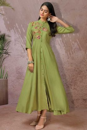 Light Green Rayon Fancy Thread Embroidered Long Kurti