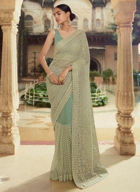 Light Green Soft Net Saree