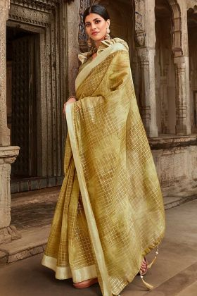 Light Olive Green Jute Cotton Ladies Saree With Printed Jacket Fabric