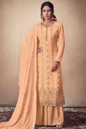 Light Orange Banarasi Jacquard Party Wear Suit