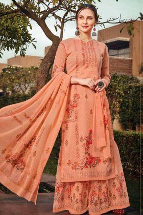 Light Orange Color Designer Party Wear Plazzo Suit Online