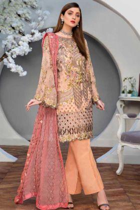 Light Orange Color Pakistani Suit With Embroidery Work