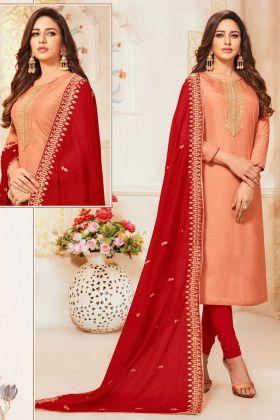 Light Orange Red Art Silk Churidar Suit