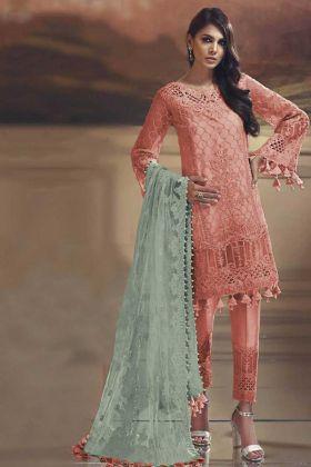 Light Orange Tissue Silk Pakistani Straight Suit