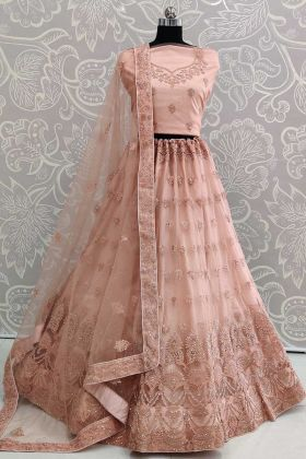 Light Peach Net Wedding Lehenga Design