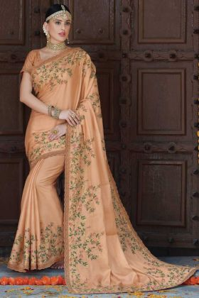 Light Peach Tussar Art Silk Traditional Saree For Women