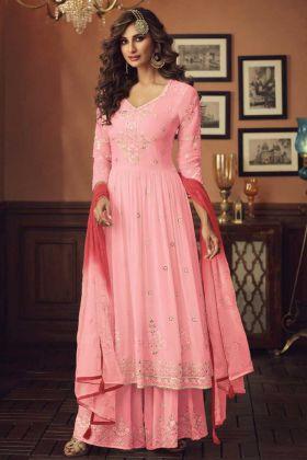 Light Pink Color Foux Georgette Pakistani Style Plazzo Suit